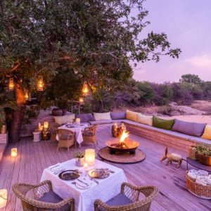a view from Thornybush Game Lodge sunset deck