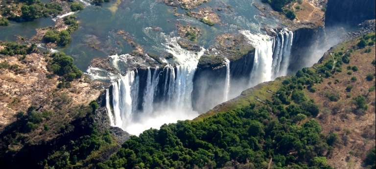 An aerial view of Victoria Falls which can be seen from Zambia and Zimbabwe