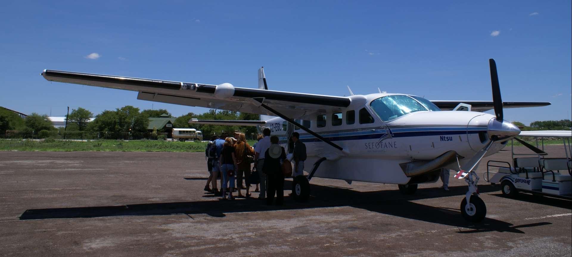 A charter flight from Maun International Airport