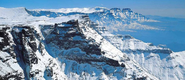 snow in the drakensberg on a hike