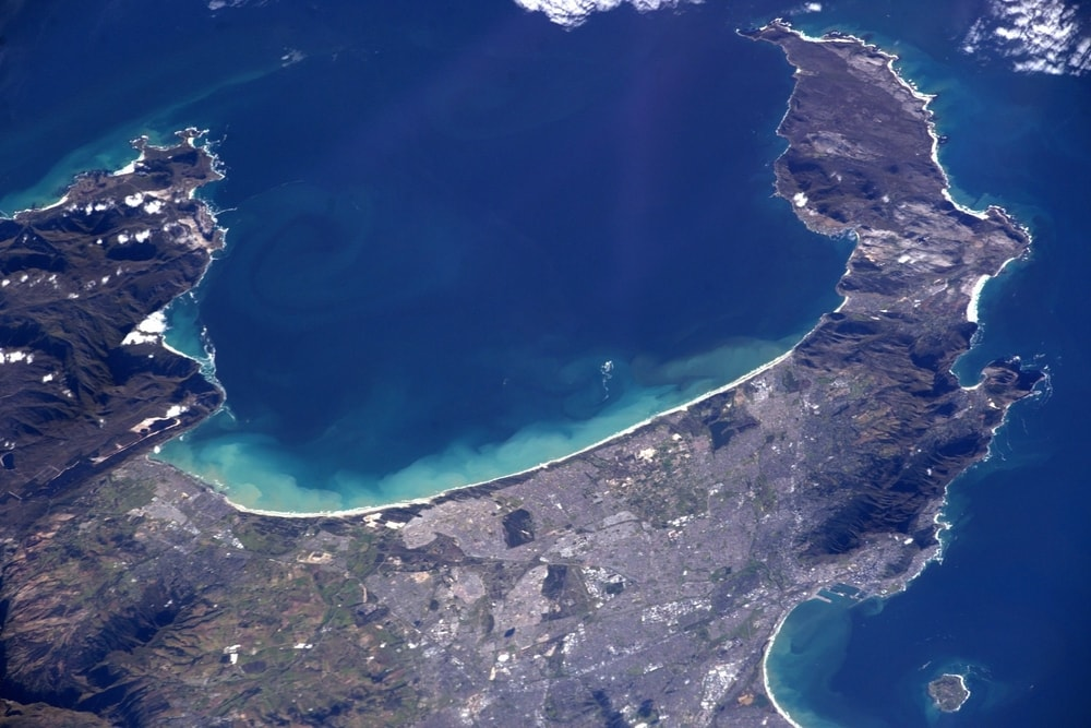An extreme aerial shot of False Bay taken from the International Space Station