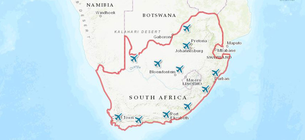 map of airports in SA