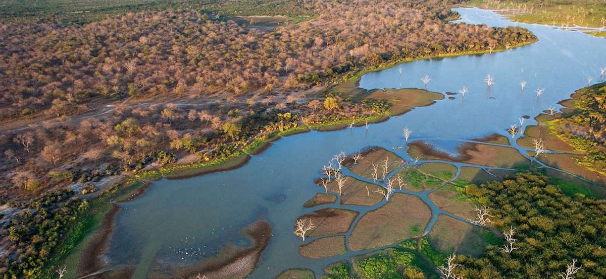 An aerialview of Botswana always mesmerises