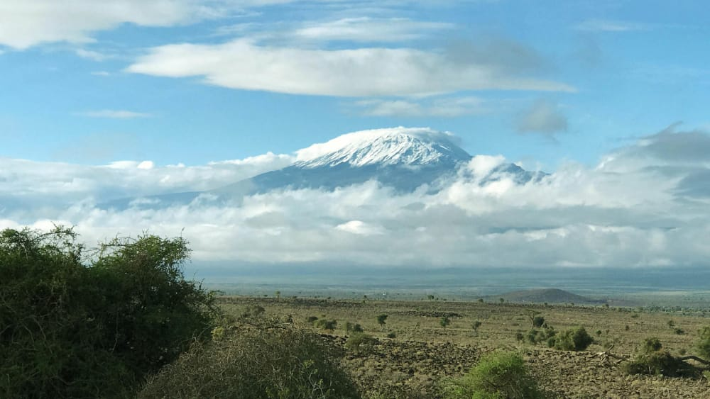 snow caps on mount kilimanjaro