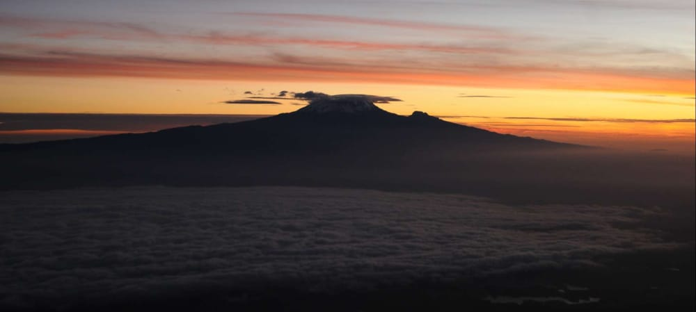 silhouette of mount meru peak