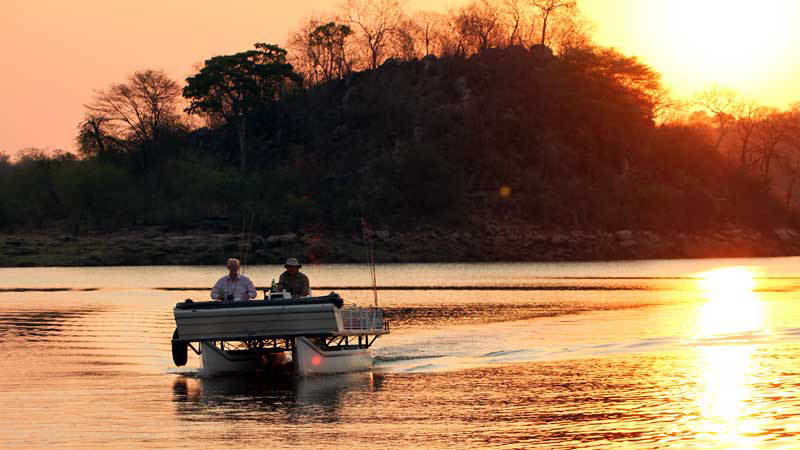 fishing on lake kariba during sunset