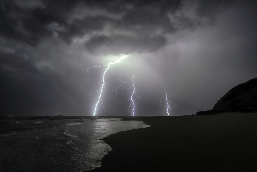 lighting strikes during storm mozambique holiday