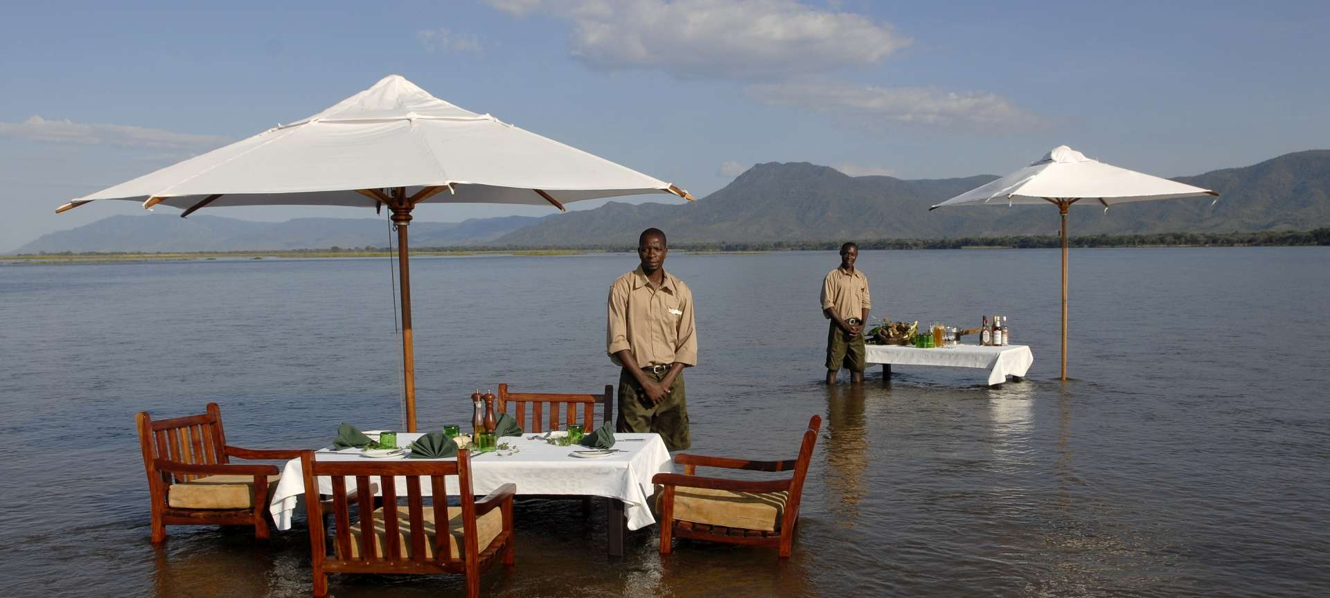 You can enjoy a water lunch at Sausage Tree Camp in Lower Zambezi National Park
