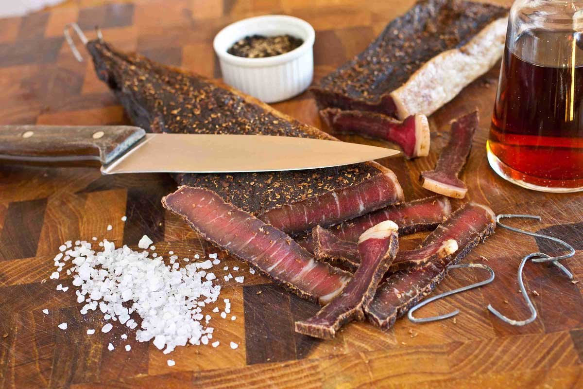 Biltong consists of quality meat that has been cured and ried with traditional spices