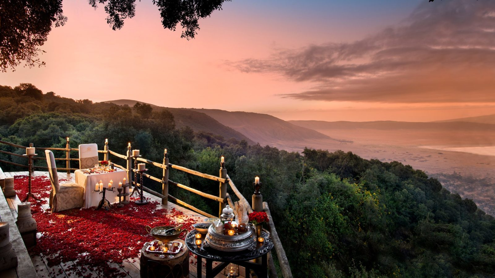 A romantic view of Ngorongoro Crater from &Beyond