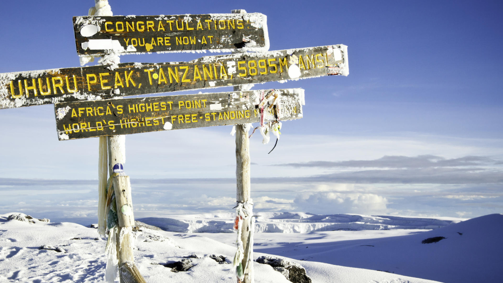 signage at the summit of uhuru peak